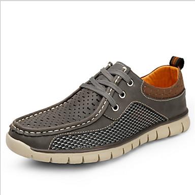 Miehet Oxford-kengät Comfort Nahka Kesä Kausaliteetti Tasapohja Harmaa Ruskea Sininen