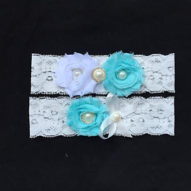 Blonder Mote Bryllupsklær Med Rhinsten / Imitasjonsperle / Blomst Strømpebånd