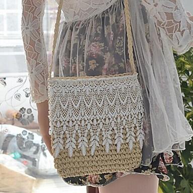 Γυναικείο Άχυρο Καθημερινή / Για εξωτερικούς χώρους Τσάντα ώμου Λευκό / Μπεζ / Πράσινο / Καφέ