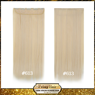 High Temperature Resistance 24 Inch Bleach Blonde (#613) Long Straight 5 Clip Hairpiece Extension 16 Colors Available