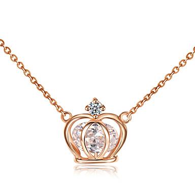 Naisten Riipus-kaulakorut Kristalli Crown Shape jäljitelmä Diamond Metalliseos minimalistisesta Hopea Ruusukulta Korut Varten