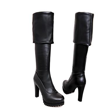 Γυναικεία παπούτσια - Μπότες - Φόρεμα / Καθημερινά - Χοντρό Τακούνι - Στρογγυλή Μύτη / Μοντέρνες Μπότες - Δερματίνη - Μαύρο / Άσπρο