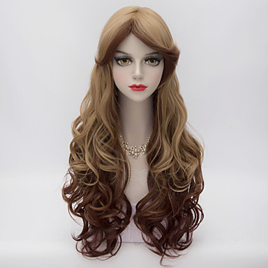 70cm Long Layered Wavy Hair With Side Bang Flaxen&Brown Gradient Heat-resistant Synthetic Harajuku Lolita Women Wig