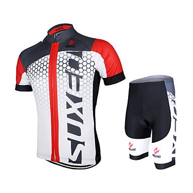 Arsuxeo Kurzarm Fahrradtriktot mit Fahrradhosen - Schwarz / grün Weiss + rot Bule/schwarz Fahhrad Shorts/Laufshorts Trikot/Radtrikot