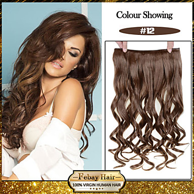 5 Clips Wavy Honey Brown (#12) Synthetic Hair Clip In Hair Extensions For Ladies more colors available