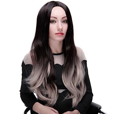 Syntetiske parykker Bølget Med lugg Syntetisk hår Ombre-hår Parykk Dame Lokkløs