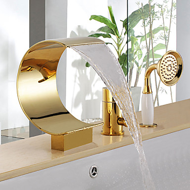 Bathtub Faucet - Antique Ti-PVD Tub And Shower Ceramic Valve / Brass / Single Handle Three Holes