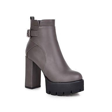 Feminino Sapatos Courino Primavera Outono Inverno Salto Robusto Botas Curtas / Ankle Ziper Para Casual Social Preto Cinzento