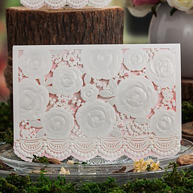 Верхний сгиб Свадебные приглашения Пригласительные билеты Цветочный стиль Мелованная бумага Цветы