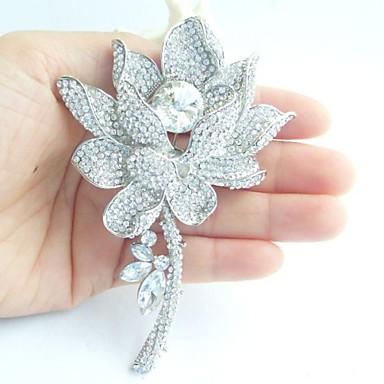 γάμος 4,13 ιντσών ασήμι-Ήχος σαφές rhinestone crystal νούφαρο νυφικό καρφίτσα νυφική ανθοδέσμη