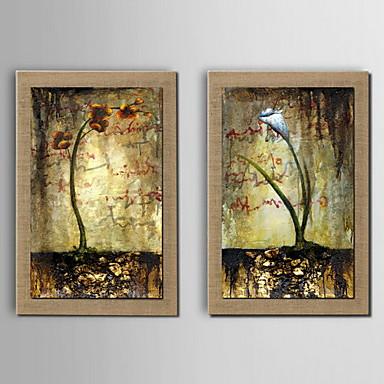 yağlıboya dekorasyon çiçek elle çerçeveli gerilmiş doğal keten boyalı - 2 set