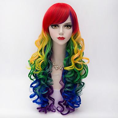 Synthetische Perücken Kinky Curly Mit Pony Rot Damen Kappenlos Karnevalsperücke Halloween Perücke Lang Synthetische Haare