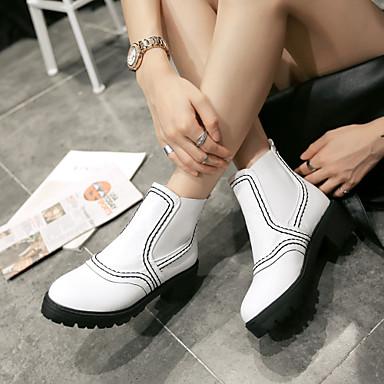 Γυναικείο Παπούτσια Δερματίνη Άνοιξη Φθινόπωρο Χειμώνας Κοντόχοντρο Τακούνι Μποτίνια Λουράκι Για Causal Φόρεμα Λευκό Μαύρο Καφέ