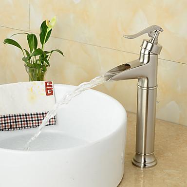 Çağdaş Tek Gövdeli Şelale Seramik Vana Tek Delik Tek Kolu Bir Delik Cilalı Nikel, Banyo Lavabo Bataryası