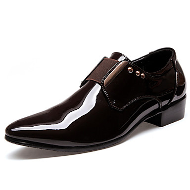 Homens Sapatos de vestir Couro Sintético Primavera / Outono Oxfords Caminhada Antiderrapante Preto / Castanho Escuro / Casamento / Festas & Noite