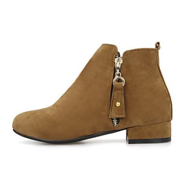 Feminino Sapatos Camursa Sintética Primavera Outono Inverno Salto Robusto Salto de bloco Botas Curtas / Ankle Ziper Para Casual Social