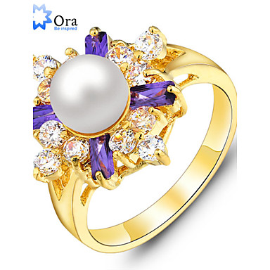 Band Rings Pearl Imitation Pearl Gold Plated Fashion Elegant Lavender Jewelry Party 1pc