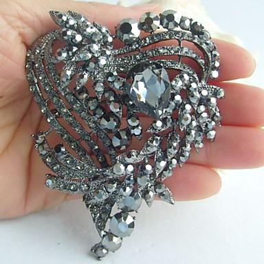 γάμος 3,15 ιντσών Vintage γκρι αγάπη rhinestone κρύσταλλο καρφίτσα καρδιά νυφική ανθοδέσμη