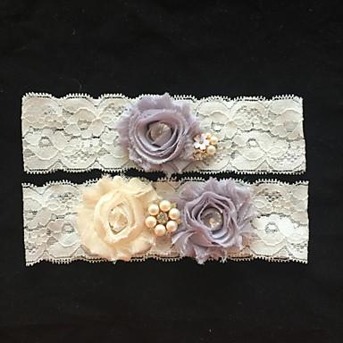 Dantelalar Moda Düğün tokmak  -  Taşlı İmistasyon İnci Çiçekli Jartiyerler