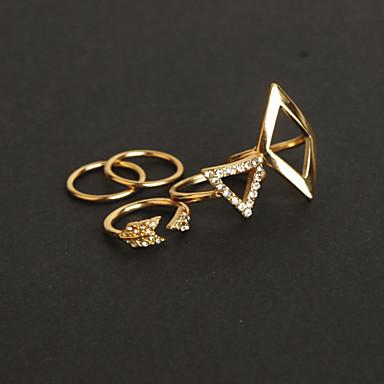 billige Motering-Dame Smykke Sett Gull Sølv Fuskediamant Legering Trekant Geometrisk Form damer Uvanlig Luksus Fest Smykker