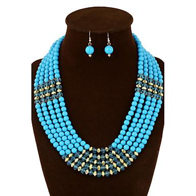 Conjunto de jóias - Pérola Vintage, Festa, Trabalho Incluir Vermelho / Azul / Azul Claro Para Casamento / Festa