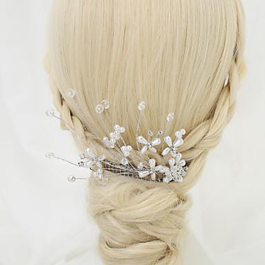 Crystal Imitation Pearl Alloy Hair Combs Headpiece Elegant Style