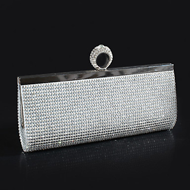 Women's Bags Polyester Evening Bag Crystal / Rhinestone Gold / Black / Silver
