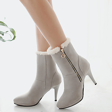 Women's Shoes Fleece Fall Winter Stiletto Heel 10.16-15.24cm Booties / Ankle Boots Chain Zipper for Dress Black Beige Gray Brown