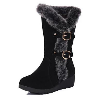 Черный Коричневый-Женский-Повседневный-Замша Мех-На танкетке-Теплая зимняя обувь