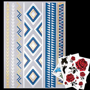 4 - Séries bijoux - Doré / Bleu / Multicolore / Argenté - Motif - 23*15*0.1cm - Tatouages Autocollants - No - Homme / Femme / Adulte
