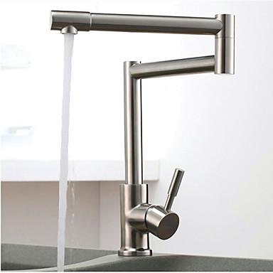 Kjøkken Kran - Et Hull Nikkel Børstet Køkkenkran Vannrett Montering Art Deco / Retro / Enkelt Håndtak Et Hull