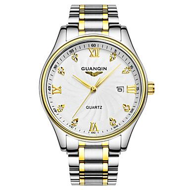 GUANQIN בגדי ריקוד גברים קווארץ יהלוםSimulated שעון שעון יד לוח שנה עמיד במים מתכת אל חלד להקה קסם כסף