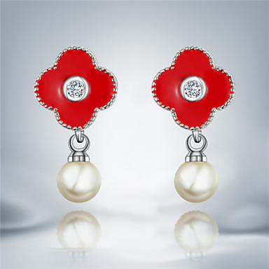 Boucles d'oreille goutte Perle Imitation de perle Plaqué argent Mode Noir Rouge Bijoux 2pcs