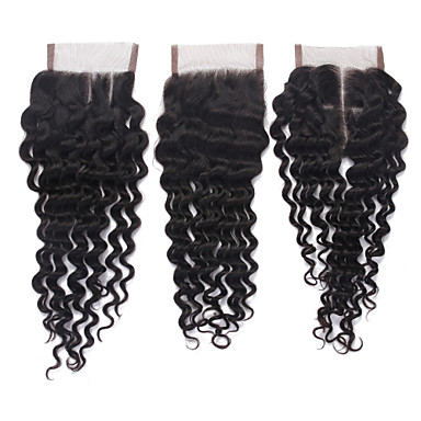 8-18 inch Natural Black Lace Front Deep Wave Human Hair Closure Light Brown Swiss Lace 40g gram Average Cap Size