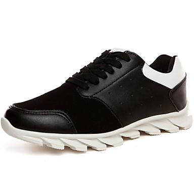 Sneakers-Læder Ruskind Tyl-Komfort-Herre-Sort Brun Hvid-Udendørs Fritid Sport-Flad hæl