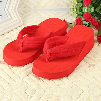 Mulheres Sapatos PVC Verão Sem Salto para Ao ar livre Fúcsia Vermelho Verde Azul marinho Azul Claro