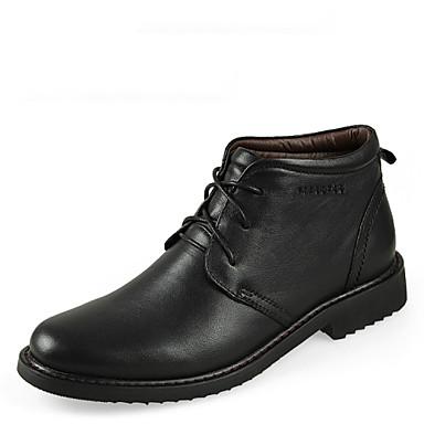 Муж. обувь Кожа Зима Осень Удобная обувь Ботинки Около 5 - 10 см Сапоги до середины икры Шнуровка для Повседневные Черный Коричневый