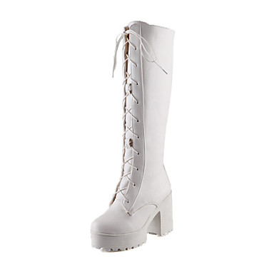 Femme Chaussures Similicuir Hiver Automne Talon Bottier Plateau Block Heel 35,56 à 40,64 cm Bottes Lacet pour Décontracté Habillé Blanc
