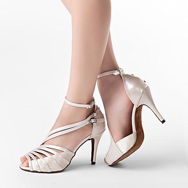 baratos Shall We® Sapatos de Dança-Mulheres Sapatos de Dança Pele PU / Cetim Sapatos de Dança Latina / Sapatos de Salsa Presilha Sandália Salto Personalizado Personalizável Cinzento / Transparente / Preto / EU41
