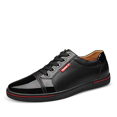 Men's Shoes Leather Spring Fall Lace-up for Casual Office & Career Party & Evening Black Blue