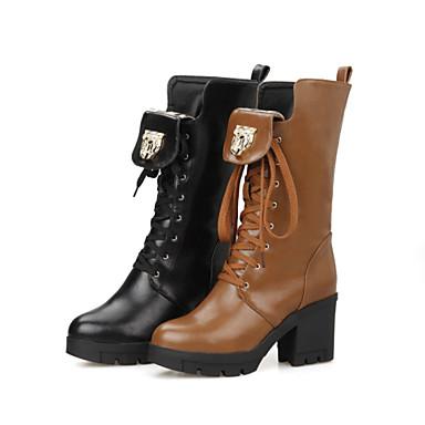 Femme Chaussures Similicuir Hiver Automne Talon Bottier 20,32 à 25,4 cm Bottes Mi-mollet Lacet pour Habillé Noir Marron