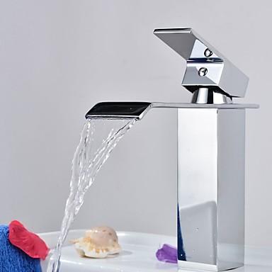 Waschbecken Wasserhahn - Wasserfall Chrom Mittellage Ein Loch / Einhand Ein Loch / Messing