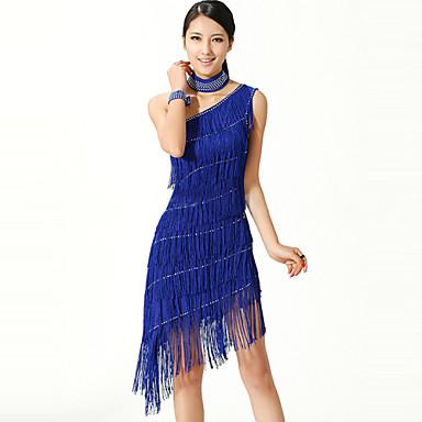 latin dans elbiseleri kadın performansı polyester / lycra tek omuz püskülü 3 parça by we®