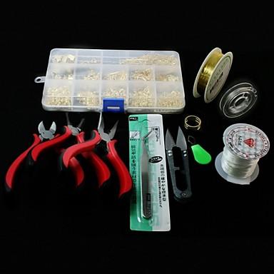 Kit de descobertas de jóias DIY Alfinetes Cordões Elásticos Wrie Salte anéis Cisalhar Alicates Kits para Fabricação de Bijuterias Metal