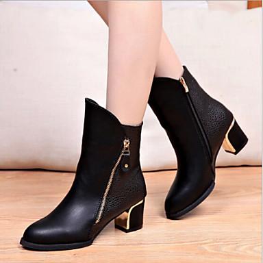 Для женщин Обувь Лакированная кожа Осень Зима На толстом каблуке Ботинки Молнии Назначение Повседневные Черный