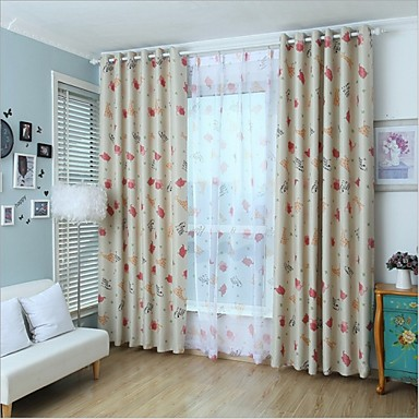 Pimennysvuoritus Drapes Living Room Piirretty Polyesteri Painettu