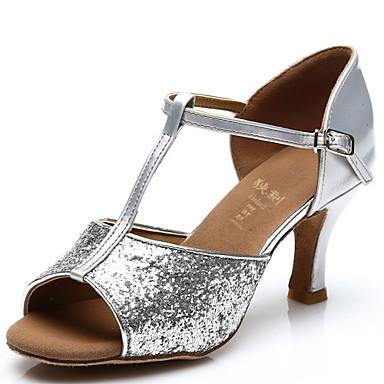 Női Latin Csillogó flitter Szandál Glitter Csat Személyre szabott sarok Ezüst Arany Személyre szabható