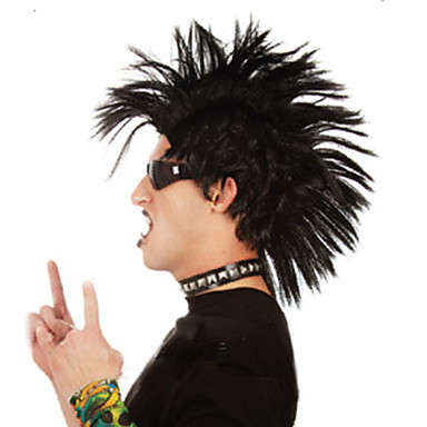 Syntetiske parykker Rett Asymmetrisk frisyre Syntetisk hår Afroamerikansk parykk Svart Parykk Herre / Dame Kort Lokkløs Svart