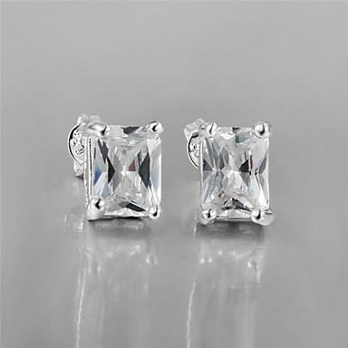Niittikorvakorut Zirkoni Cubic Zirkonia Hopeoitu jäljitelmä Diamond Hopea Korut Varten 2pcs