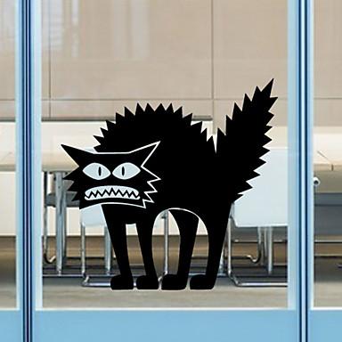 duvar çıkartmaları duvar çıkartmaları tarzı cadılar bayramı gerilim kedi pvc duvar çıkartmaları